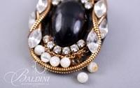 (2) Pair Non Pierced Earrings with Black Stones and Pearls - Circular Shape