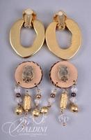 (4) Pair Costume Non Pierced Multi-Color Stones Earrings