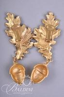 Gold Tone Chain Bracelet, Earrings with Acorns and Necklace with Three Leaves