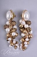 (4) Pair Non Pierced Gold Tone Costume Earrings with Pearl Accents - One is Les Bernard