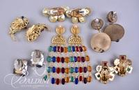(6) Pair Gold Tone Multi Colored Stone Earrings Non Pierced
