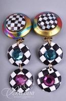 (7) Pair Multi Color Design Vintage Earrings Non Pierced