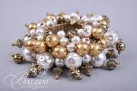 (2) Bracelets with Pearl Design and Gold Tone Buckle Bracelet