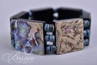 (3) Abalone Bracelets and Bracelet with Blue Beading and Green Center Stone