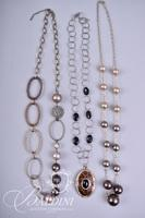 (3) Necklaces with Round Silver and Gold Baubles