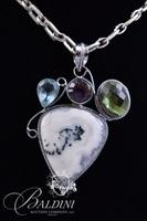 White/Gray Gemstone Pendant Neckace with Blue, Purple and Green Accent Stones