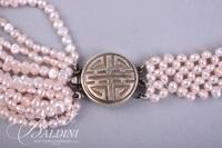 Pink Seed Pearl Necklace, Blue/White Cloisonne, Long Multi-Pearl Necklace and Pearl/Silver Bracelet with Heart