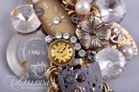 Lesli Mones Custom Made Art Bracelet Watch and Brooch - Some Damage