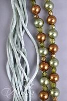 Shell Necklace on Green Cord and Bronze and Green Bauble Necklace