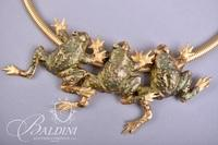 Gold Statement Necklace with Frogs with Matching Lily Pad Earrings