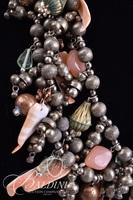 Multi Strand Statement Necklace with Beading and Coral Color Shells