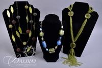 (3) Necklaces with Bright Green Beading and Blue and Green Stones