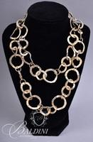 (2) Brushed Gold Choker Style Necklaces and Gold Circular Chain Necklace