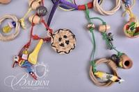 (4) Brightly Colored Necklaces with Wood Beads and Gemstones