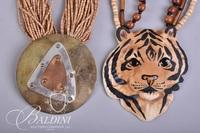 Hand Made Porcelain Lion's Head Necklace by Carol Halmy Signed and Stamped 925 and Multi Strand Beaded Necklace
