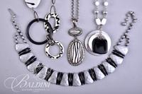 (4) Necklaces with Black and White Stones, Silver and Black