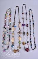(4) Necklaces with Multi Color Stones and Beading