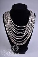 Silver Multi Strand Necklace, Earrings and Bracelet