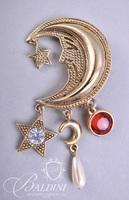 (3) Brooches - Flowers, Moon and Stars, Jeweled