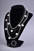 (4) Silver Tone Necklaces with Pearl Accents and Silver Charm Accents