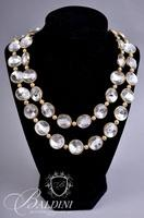 (3) Necklaces Including Betsey Johnson Clear Stones, Square Links and One Other