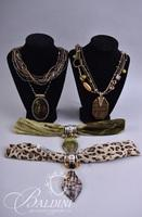 (4) Necklaces Includes Multi Beaded Strands with Art Glass Stones and Scarves with Hand Blown Art Glass Pendants