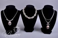 (3) Necklaces Silver Tone and Copper Color Pendants