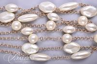 (5) Necklaces - Multi Strand Pearl and Gold Tone Choker Style