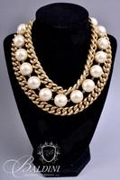 (2) Pearls and Link Chain Necklaces and Square Shape Silver and Gold Tone
