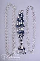 (4) Silver Tone Necklaces with Round Links, Blue and Silver Beading and Bendable Silver Necklace