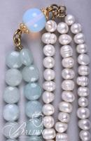 Turkish Lariat Style Statement Necklace with Fresh Water Pearls and Gemstones