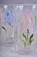 Hand Painted Pitcher with (4) Glasses and Matching Pedestal Compote, Artist Signed