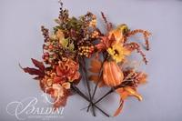 Fall Decor Includes Glass Pumpkins and Wreath with Foliage Picks