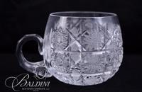 Large Brilliant Cut Crystal Russian Punch Bowl with (12) Cups, Ladle and Cut Tray