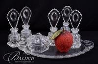 Jewel & Dewdrop Tray with (5) Perfumes and Covered Powder Jar