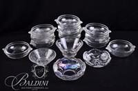 (12) Crystal Dessert Bowls and 4 Assorted Small Glass Round Bowls