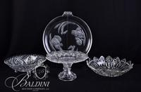 Pressed Glass Tray, Compote, 3-Footed Bowl and Small Bowl