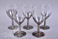 (6) Portrait Crystal Wine Glasses and (5) Smokey Wine Glasses