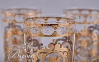 (6) Gold Embossed Water Glasses and (6) Gold and Frosted Water Glasses