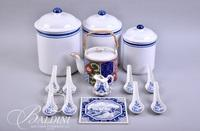 3-Piece Canister Set, Blue and White Tile and Toothpick, Teapot and (4) Egg Drop Soup Spoons