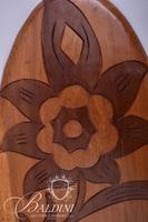Hand Carved Wood Tray and Two Salad Sets with Utensils