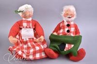 (3) Holiday Geese and Christmas Grandmother and Grandfather Stuffed Dolls