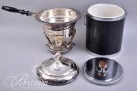 Vintage Ice Bucket, Silver Plate Chaffing Dish, Serving Casserole Dishes, Wire Bread Basket and Utensils