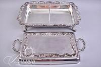 (2) Footed Silver Plate Covered Casseroles with Lids
