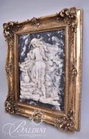 Renaissance Style Relief Framed Art of Young Woman Filling Water Vessel