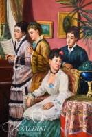Oil on Board of Women in Parlor Singing