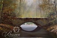 Original Oil on Canvas of Waterway Under a Stone Bridge, Signed