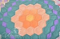 Hand Stitched Quilt with Scalloped Edge and Decorated with Flowers