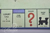 1936 Blue Box Monopoly Game No. 5 Dual Patent for 5 to 8 Players with Board, Game Pieces, Play Money and Cards