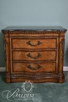 Pair Faux Marble Top 3-Drawer Bedside Stands